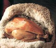 Poulet de l'Allier dans sa croûte de sel